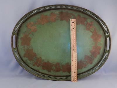 Antique 19C Hand Painted Toleware Butlers Serving Tray~Hand Painted Grape Leaf