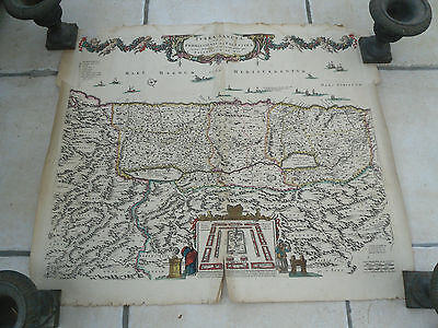 Old hand coloured copy of a map circa 1680 of The Holy Land by Frederick de Wit