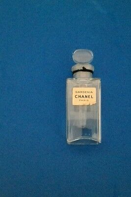 Vintage CHANEL GARDENIA tester perfume bottle glass stopper w long dauber empty