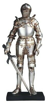 Medieval Knight in Armor with Sword Statue Figurine Collectible Statuette New
