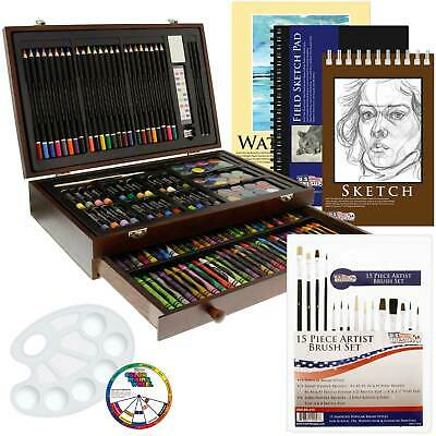 162-Piece Art Drawing Set Artist Sketch Pencil Pastel Paper Crayons Wood Box