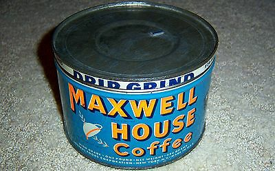 Folger's & Maxwell House Drip Grind  Antique One Pound Tin Coffee Can