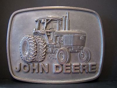 RARE SAMPLE John Deere 4840 Iron Horse PEWTER Tractor Belt Buckle 1977 jd duals