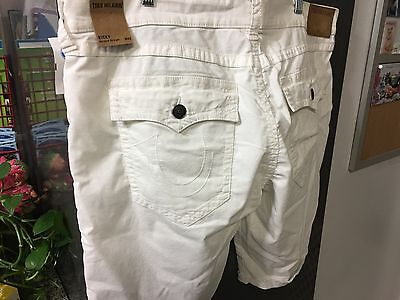 Men's True Religion White Ricky Relaxed Straight Shorts Size 30 Brand New