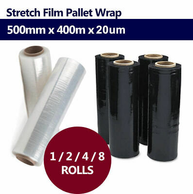 1/2/4/8 Rolls 500mmx400m 20UM BLACK CLEAR Stretch Film Pallet Wrap Carton Shrink