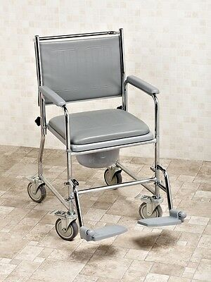 Fixed Height Wheeled Mobile Commode With Footrests