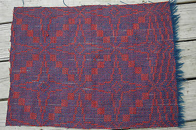 Americana Red Blue Woven Homespun Coverlet Blanket Piece Repurpose Stack