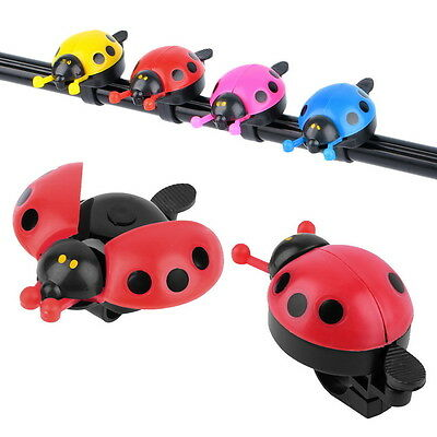 Lovely Kid Beetle Ladybug Ring Bell For Cycling Bicycle Bike Ride Horn Alarm HT
