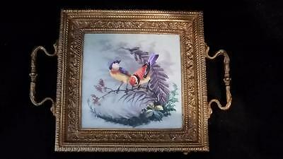 Antique Victorian Porcelain & Bronze Calling Card Tray Birds