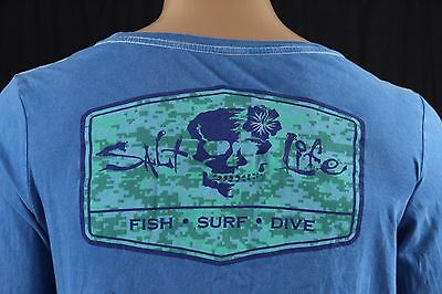 Mens Salt Life Blue Long Sleeve Graphic T Shirt Size Small S