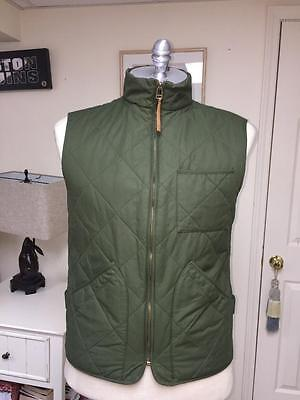 J Crew Nx-631 Men's Olive Green Quilted Vest Thermore Sz L Nwt