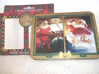 Christmas Santa Coca-Cola Nostalgia PlayingCards 2 Deck Limited Edition Tin 1997