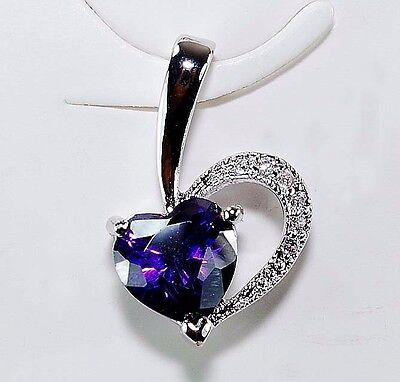 1CT Amethyst & White Topaz 925 Solid Sterling Silver Heart Pendant jewelry