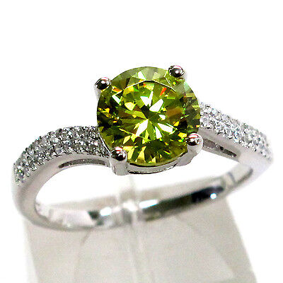 Lovely 2 Ct Peridot Round Cut 925 Sterling Silver Ring Size 5
