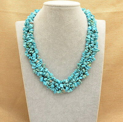Blue Turquoise Howlite Gemstone 18K White Gold Plated Chip Band Necklace 18 1/2""