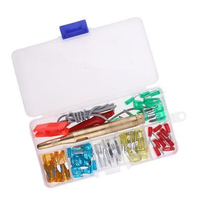 60 Pieces Car Truck 5A-30A Mini Blade Fuse Kits Clip with Circuit Tester Pen