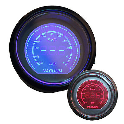 "Universal 2"" 52mm Blue Red Turbo Vacuum Car Digital LED Light Gauge Meter JQ"
