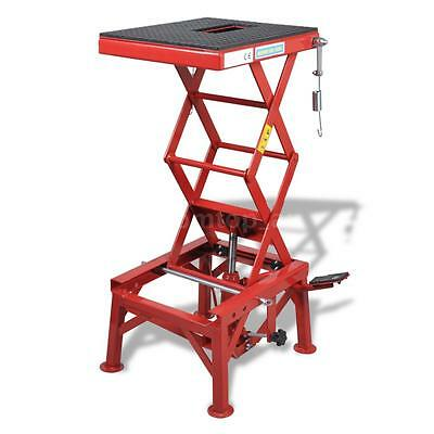 Red Motorcycle Lift 135 kg with Foot Pad, Locking Bar, Release Valve Z4T8