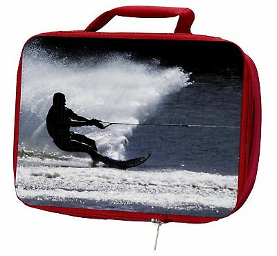 Water Skiing Sport Insulated Red School Lunch Box/Picnic Bag, SPO-W1LBR
