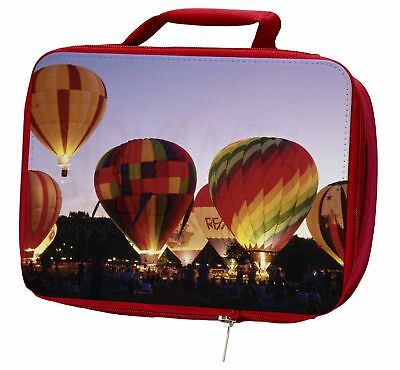 Hot Air Balloons at Night Insulated Red Lunch Box, SPO-B2LBR