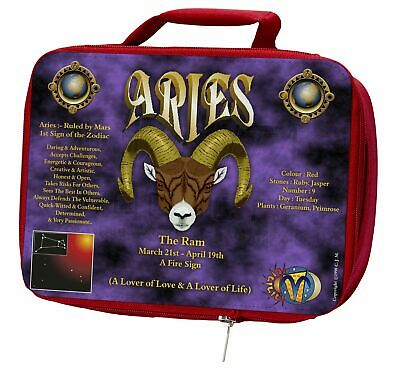 Aries Astrology Star Sign Birthday Gift Insulated Red Lunch Box, ZOD-1LBR