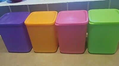 New 💕Tupperware Square Rounds X 4 💕Multi Coloured 1.8 Litres