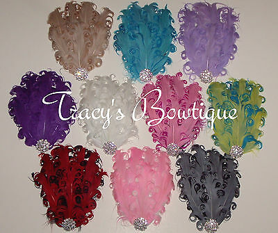 Vintage Inspired Nagorie Curly Feather Pad Crystal with Matching Satin Headbands