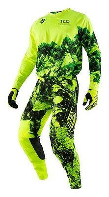 New 2017 34 L Troy Lee Designs SE GRAVITY FLO YELLOW Jersey Pants Kit MX Enduro