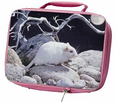 White Gerbil Insulated Pink School Lunch Box Bag, GERB-1LBP