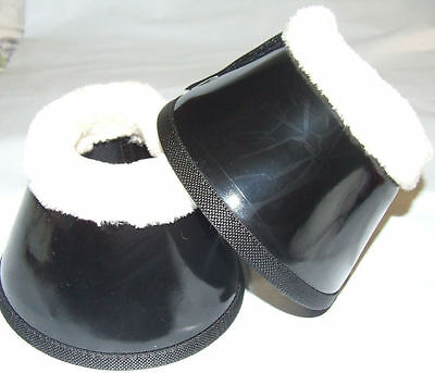 Ecotak  Black Patent Bell Over Reach Boots with Fleece  Ecotak