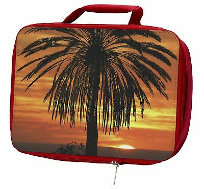 Tropical Palm Sunset Insulated Red Lunch Box, SUN-3LBR