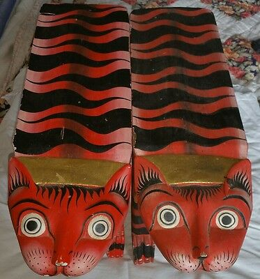 A Fabulous RARE pair of egyption CAT tiger tables benches. FOLK ART