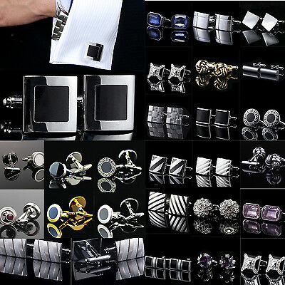 Lot Vintage Stainless Steel Golden Silver Wedding Gift Mens Antique Cuff Links C