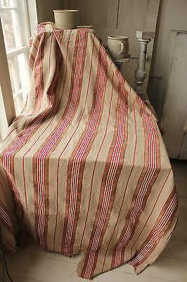Antique French linen ticking fabric material upholstery weight red flax c1870