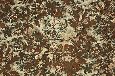 Antique French LARGE curtain panel drape c1880 ~ green grey brown Belle Epoque