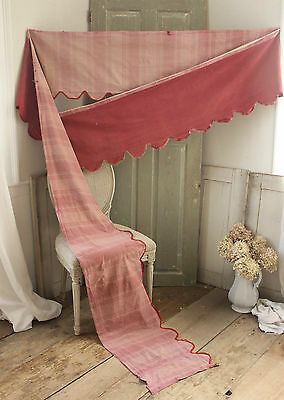Antique French 18th / early 19th  century valance bed curtain ruffle 16.2 FEET
