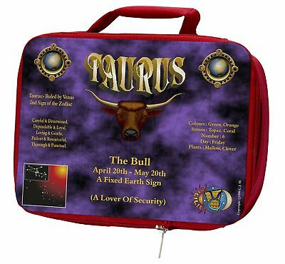 Taurus Star Sign Birthday Gift Insulated Red Lunch Box, ZOD-2LBR
