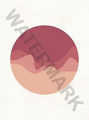 Minimalist Abstract Circle Waves Red Large Poster Art Print Lf3802