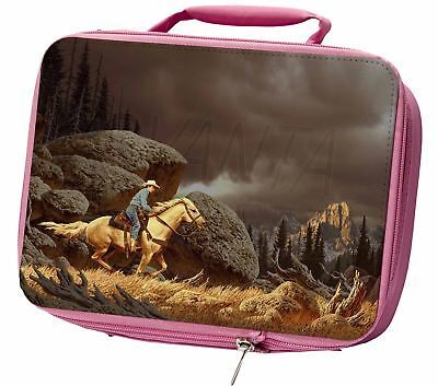 Horse Riding Cowboy Insulated Pink School Lunch Box Bag, AHC-1LBP
