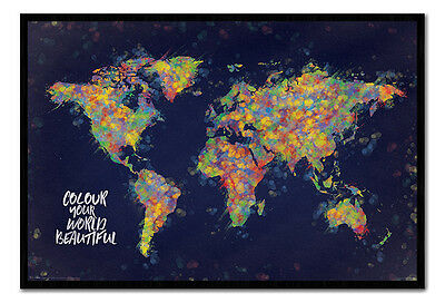 Colour Your World Beautiful Map Framed Cork Pin Notice Board With Pins