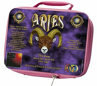 Aries Astrology Star Sign Birthday Gift Insulated Pink Lunch Box, ZOD-1LBP