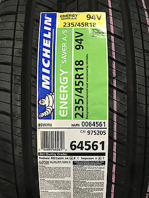 4 New 235 45 18 Michelin Energy Saver A/S Tires