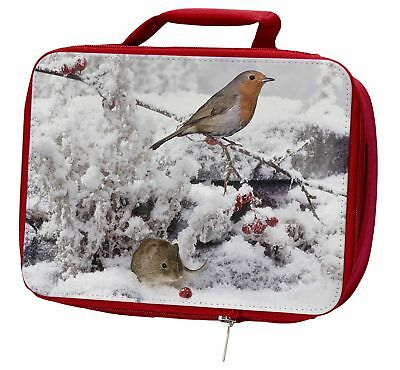 Snow Mouse and Robin Print Insulated Red School Lunch Box/Picnic Bag, AMO-5LBR
