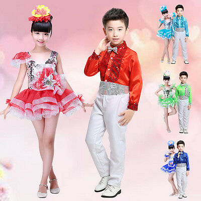 Children Kids Sequined Jazz Tap Dancewear Dress Party Show Stage Dance Costume