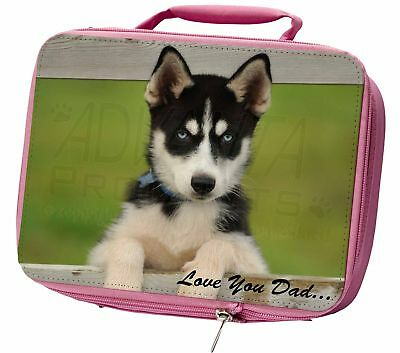 Husky Pup 'Love You Dad' Insulated Pink School Lunch Box Bag, DAD-56LBP