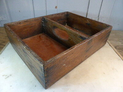 Antique wooden cutlery box tray holder