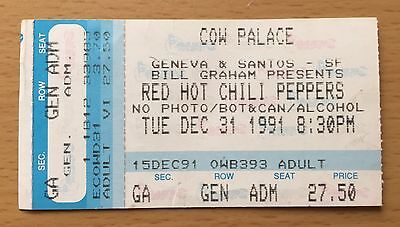 1991 Nirvana Pearl Jam Red Hot Chili Peppers San Francisco Concert Ticket Stub B