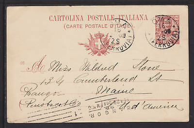 Italy H&G 26 used 1906 10c Postal Card to Bangor, Maine