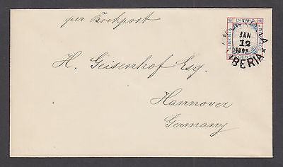 Liberia H&G B2 used 1892 3c Envelope to Hannover, Germany