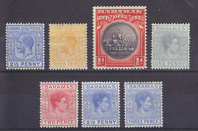 Bahamas Sc 51/105A MLH. 1912-43 issues, 7 diff F-VF